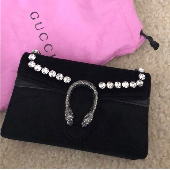 78a6b914c0648f Gucci Bags | Velvet Crystal Super Mini Dionysus Bag Black | Poshmark